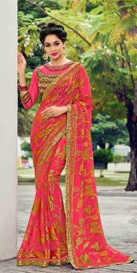 Stylish Georgette Bandhni Saree designs