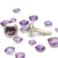 Natural Amethyst Gemstone Mens Cufflinks