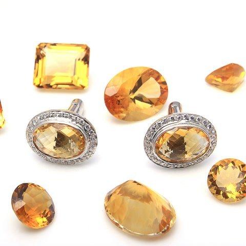 Natural Golden Topaz & Zircon Gemstone Mens Cufflinks