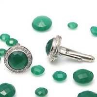 Natural Green Onyx Gemstone Mens Cufflinks