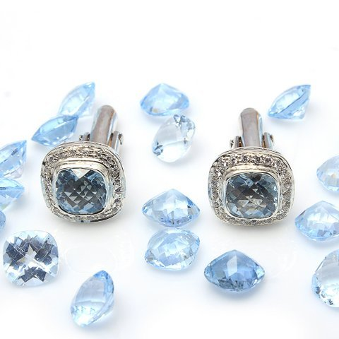 Natural Blue Topaz Gemstone Mens Cufflinks