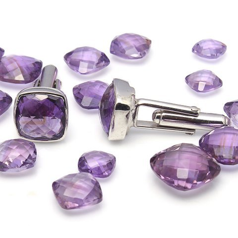 Natural Amethyst & Cz Gemstone Mens Cufflinks