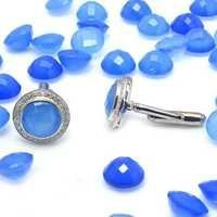 Natural Blue Chalcedony & Zircon Gemstone Mens Cufflinks