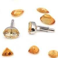 Natural Golden Topaz & Zircon Gemstone Mens Cufflinks