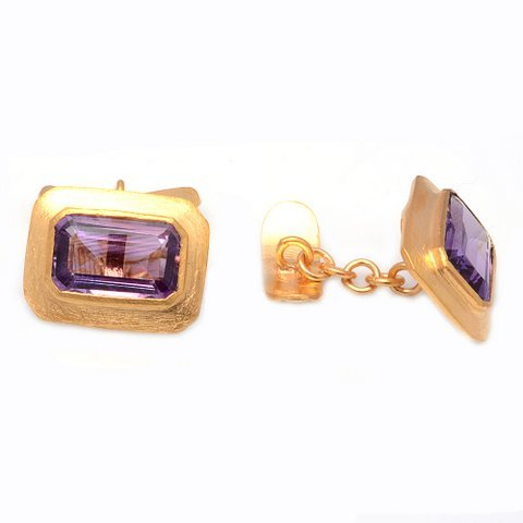 Natural Amethyst Gemstone Mens Cufflinks Vermeil Gold