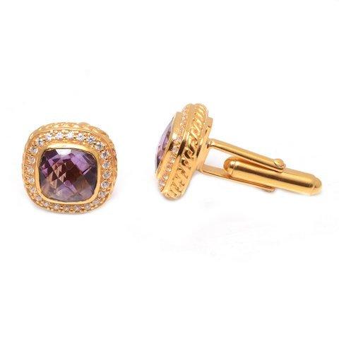 Natural Amethyst & Zircon Gemstone Mens Cufflinks Vermeil Gold