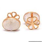 Natural Moonstone Gemstone Mens Cufflinks Vermeil Gold