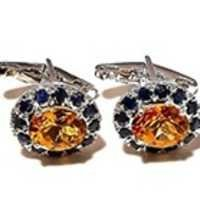 Natural Sapphire & Golden Topaz/Citrine Gemstone Mens Cufflinks