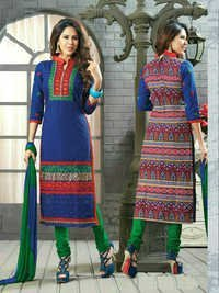 Latest Blue Printed and Embroidered Salwar kameez