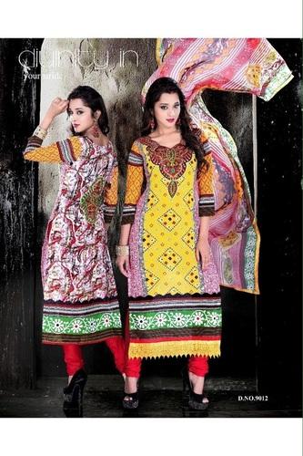 Elegant Multicolor Cotton Salwar Kameez
