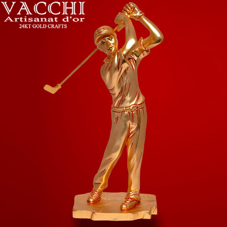 Gold Plated Golfman Statue