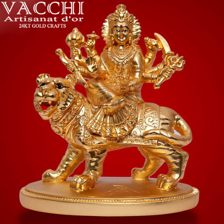 Gold Plated Durga Statue