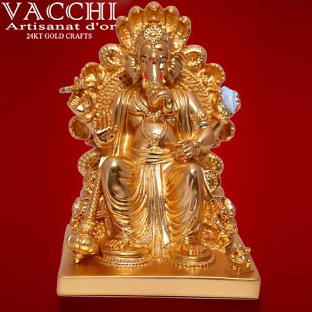Gold Coated Ganesha Idol