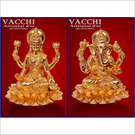 Gold Plated Laxmi Ganesha Idol