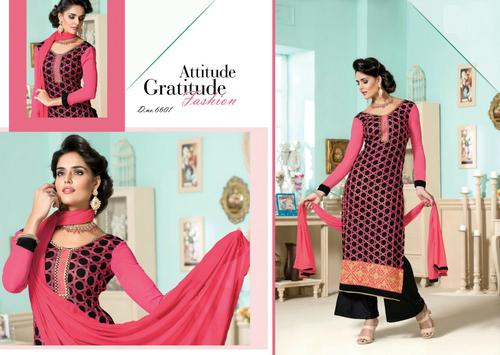 Gorgeous Pink Pakistani salwar kameez semi stitched suit