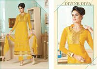Designer Yellow Salwar kameez Semi stitched suit 6603