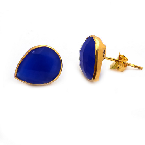 Blue Chalcedony Gemstone Ear Studs