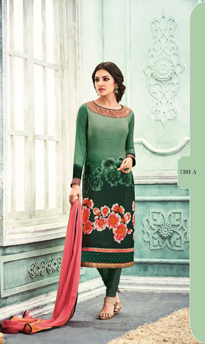 Green Crepe Embroidered Style Suit