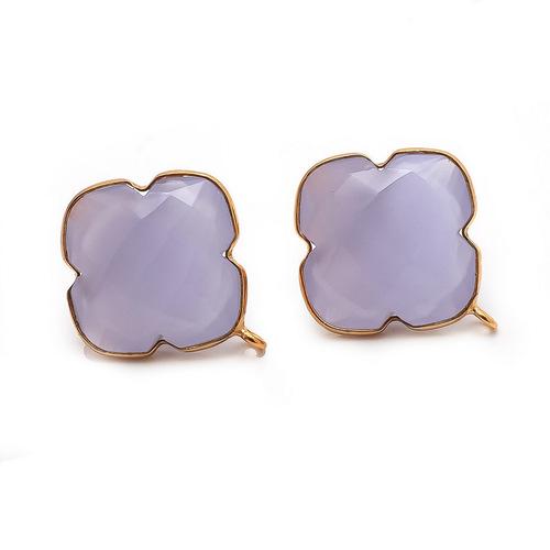 Lavender  Chalcedony Gemstone Studs