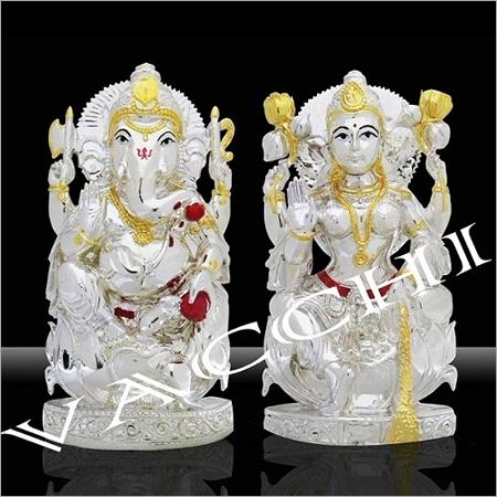 Silver Plated Ganesha Laxmi Pair