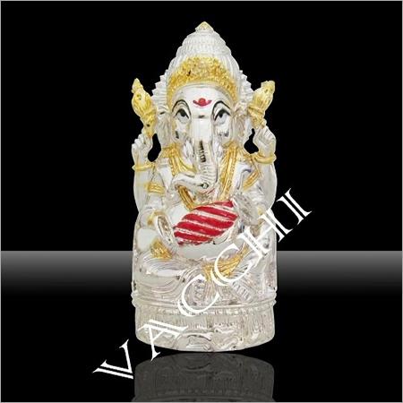 Silver Plated Dholak Ganesha