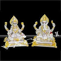 Silver Lakshmi Ganesha Statue