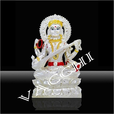 Silver Plated Saraswati Idol
