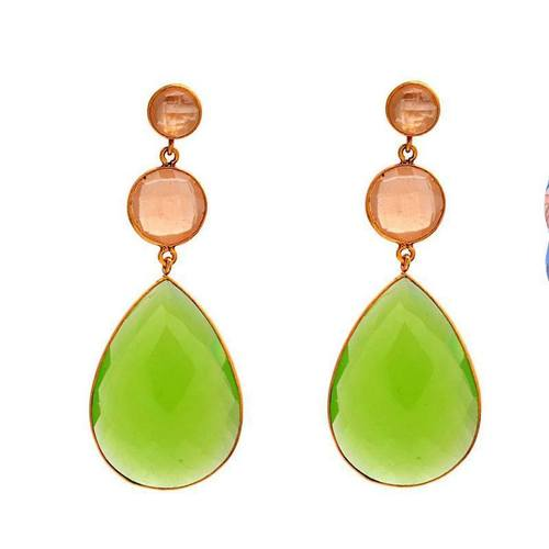 Sea Green & Peach Chalcedony Gemstone Earring