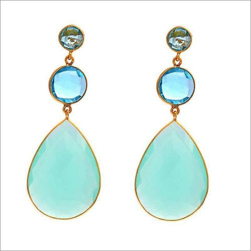 Aqua chalcedony & Blue topaz gemstone earrings