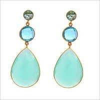 Aqua Chalcedony & Blue Topaz Gemstone Earrings