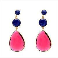 Ruby Quartz & Lapis Lazuli Gemstone Earring