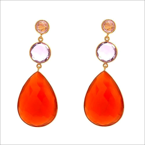Orange Chalcedony & Pink Quartz Gemstone Earrings