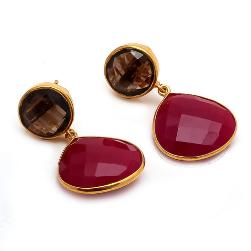 Dyed Ruby & Smoky Topaz Gemstone Earrings