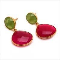 Fuchsia chalcedony & sea green chalcedony gemstone earrings
