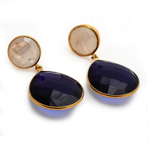 Sapphire Hydro & Moonstone Gemstone Earrings