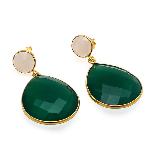 Green onyx & Milky chalcedony gemstone earrings
