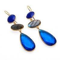 Blue chalcedony, gray chalcedony & blue topaz quartz gemstone earrings