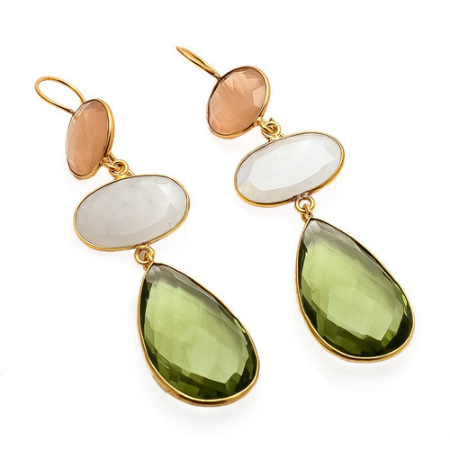 Green Amethyst, Milky Chalcedony & Peach Chalcedony Gemstone Earrings