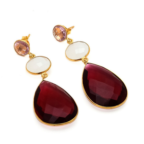 Ruby Hydro, Milky Chalcedony & Pink Quartz Gemstone Earrings