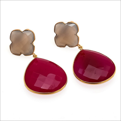 Fuchsia Chalcedony & Gray Chalcedony Gemstone Earrings