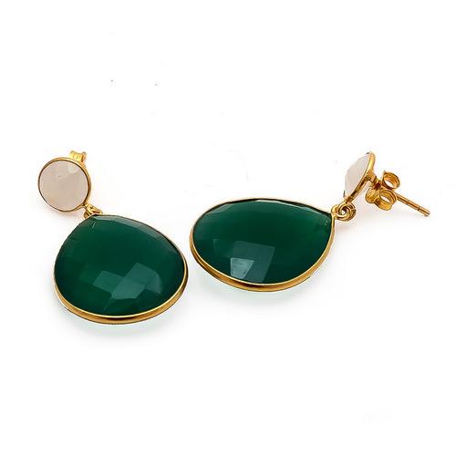 Green onyx & Milky Chalcedony Gemstone Earrings