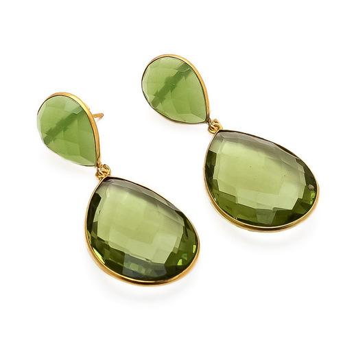 Green Amethyst & Sea Green Chalcedony Gemstone Earrings