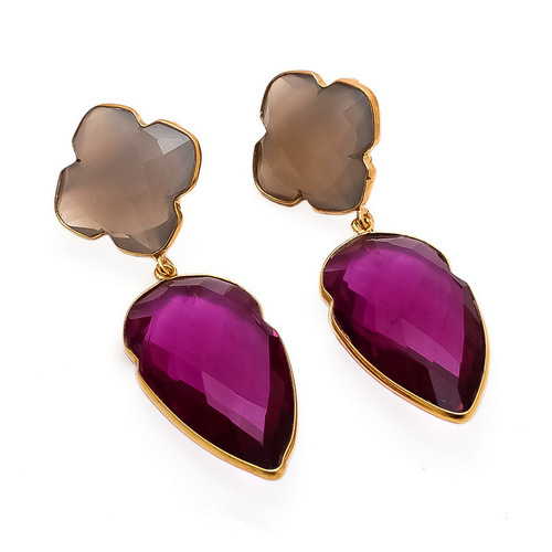 Pink Tourmaline & Gray Chalcedony Gemtone earrings