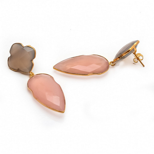 Pink Chalcedony & Gray Chalcedony Gemstone earrings