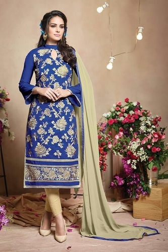 Blue Lovely Pure Chanderi Suit
