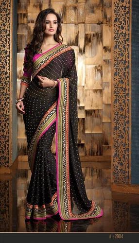 Designer black georgette partywear saree 2804
