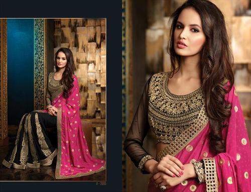 Ethnic pink and black party wear saree 2805