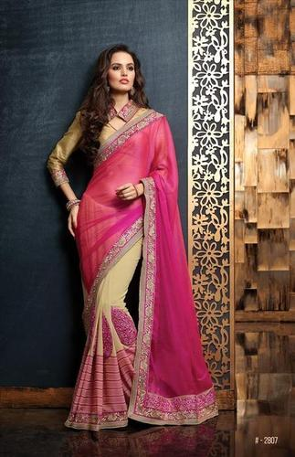 Wonderful pink and cream Festive saree