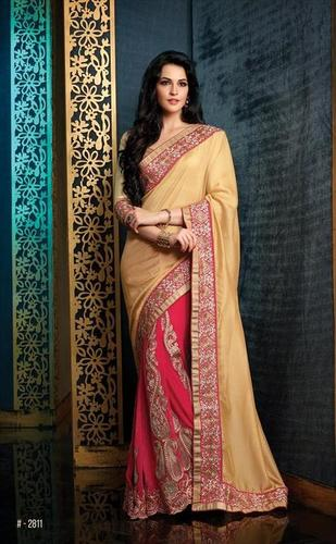 Ethnic Pink and Cream saree 2811