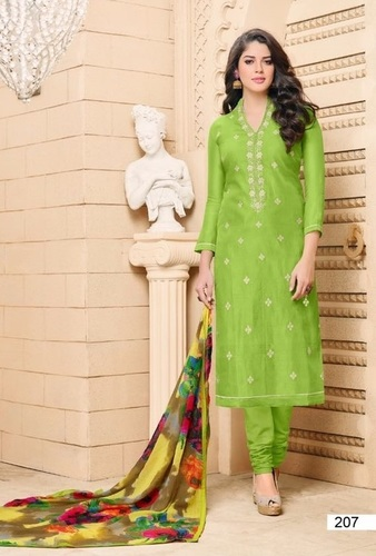 Green Georgette Exclusive Straight Suit
